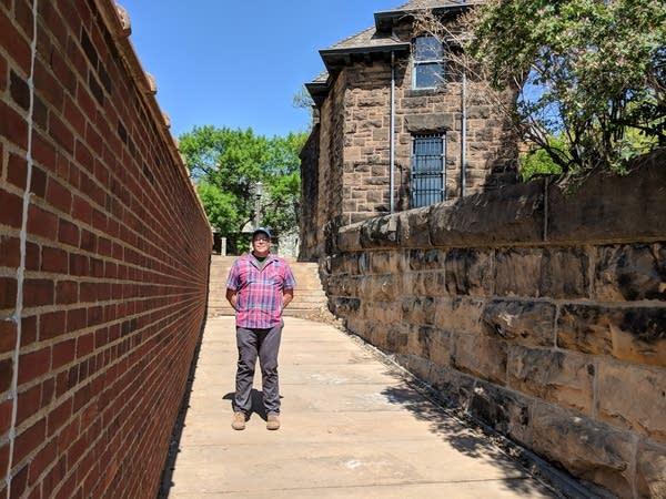 Urban geographer Bill Lindeke stands on the J.J. Hill steps.