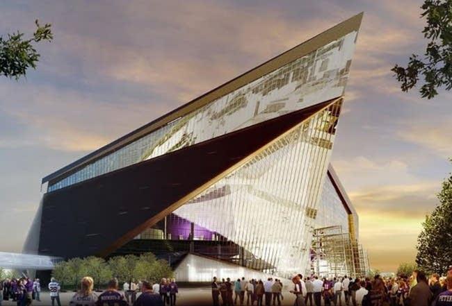 An artist rendering of the new Vikings stadium