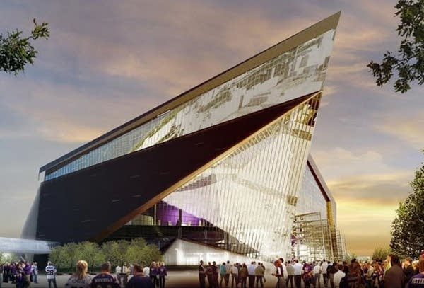 An artist rendering of the new Vikings stadium