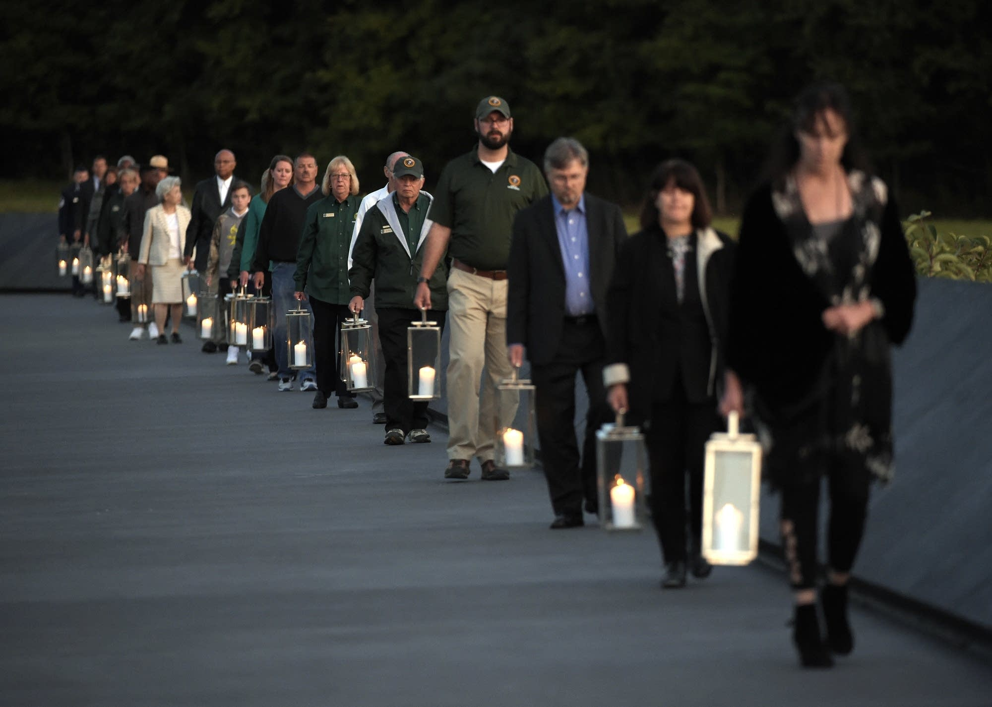 Candles in memory of the passengers and crew of United Flight 93.
