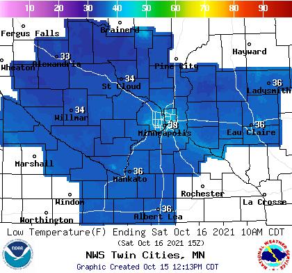 Forecast low temperatures Saturday morning