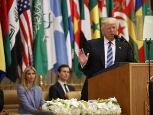 President Donald Trump delivers a speech