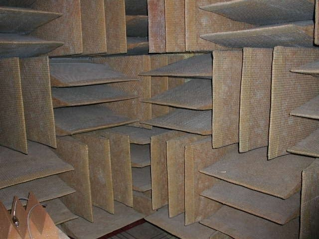 Sound absorbing tiles in the anechoic chamber