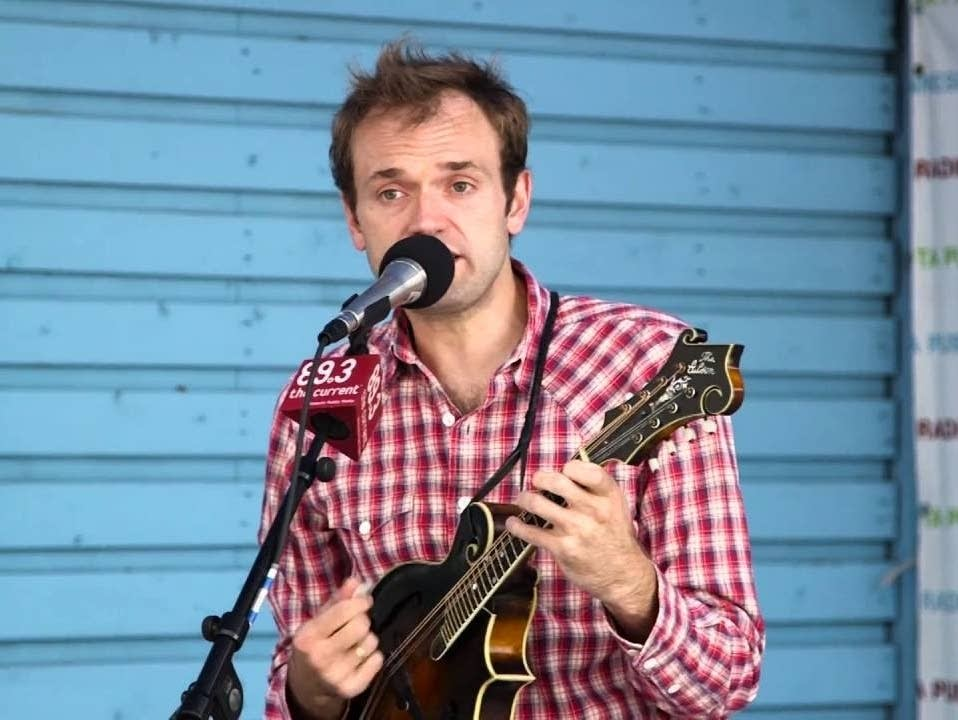 Chris Thile performs at the MPR booth