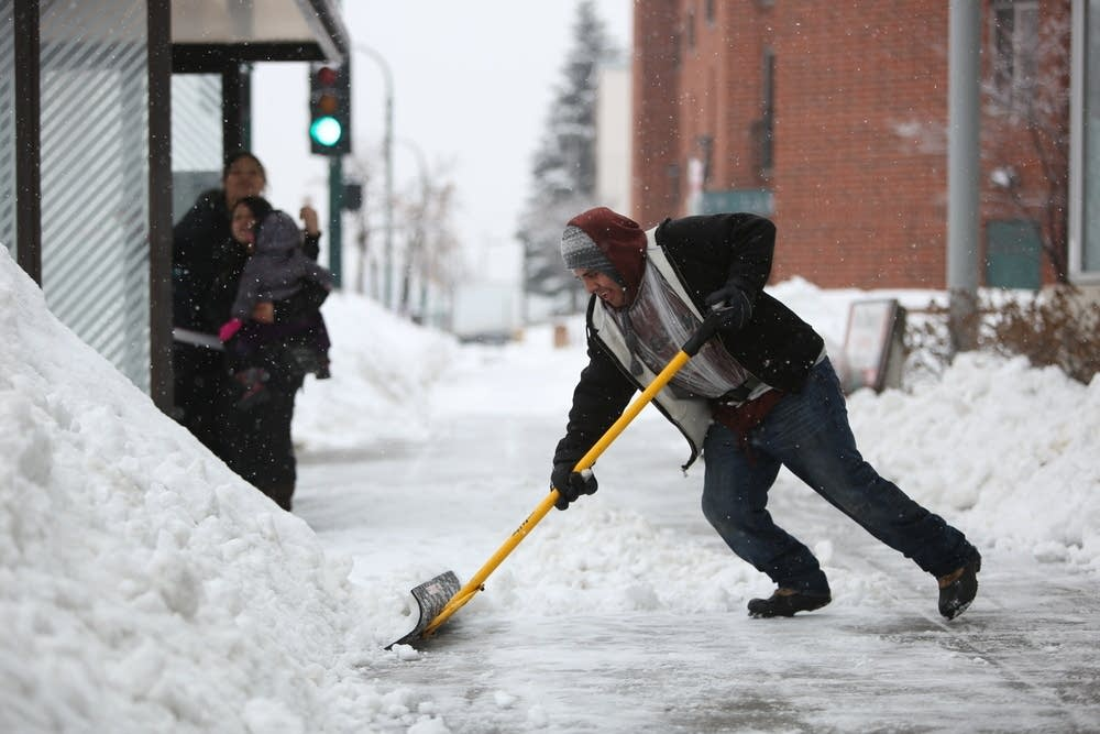 Snow shoveling -- make that shoving