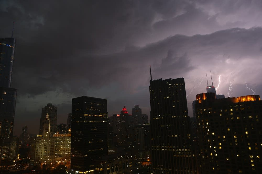 Lightning erupts over downtown Chicago