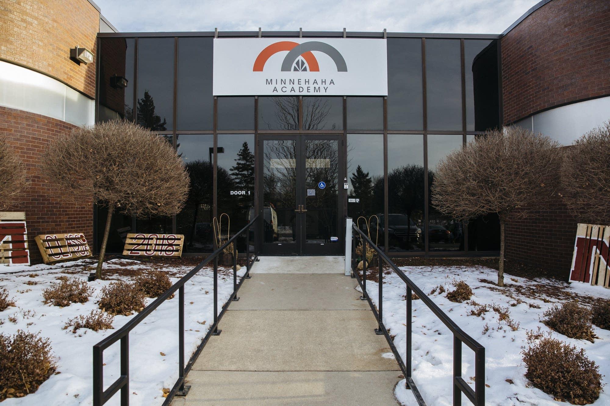 The entrance to the Minnehaha Academy Upper School's temporary location.