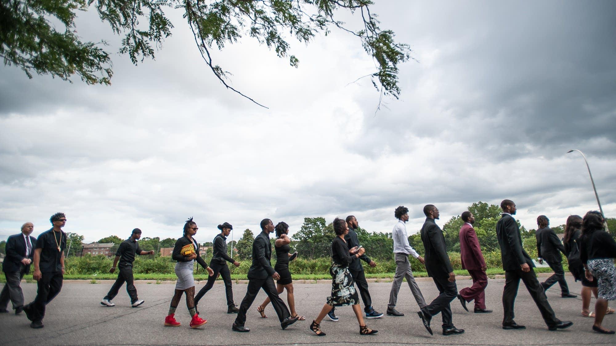 Procession outside Philando Castile's funeral
