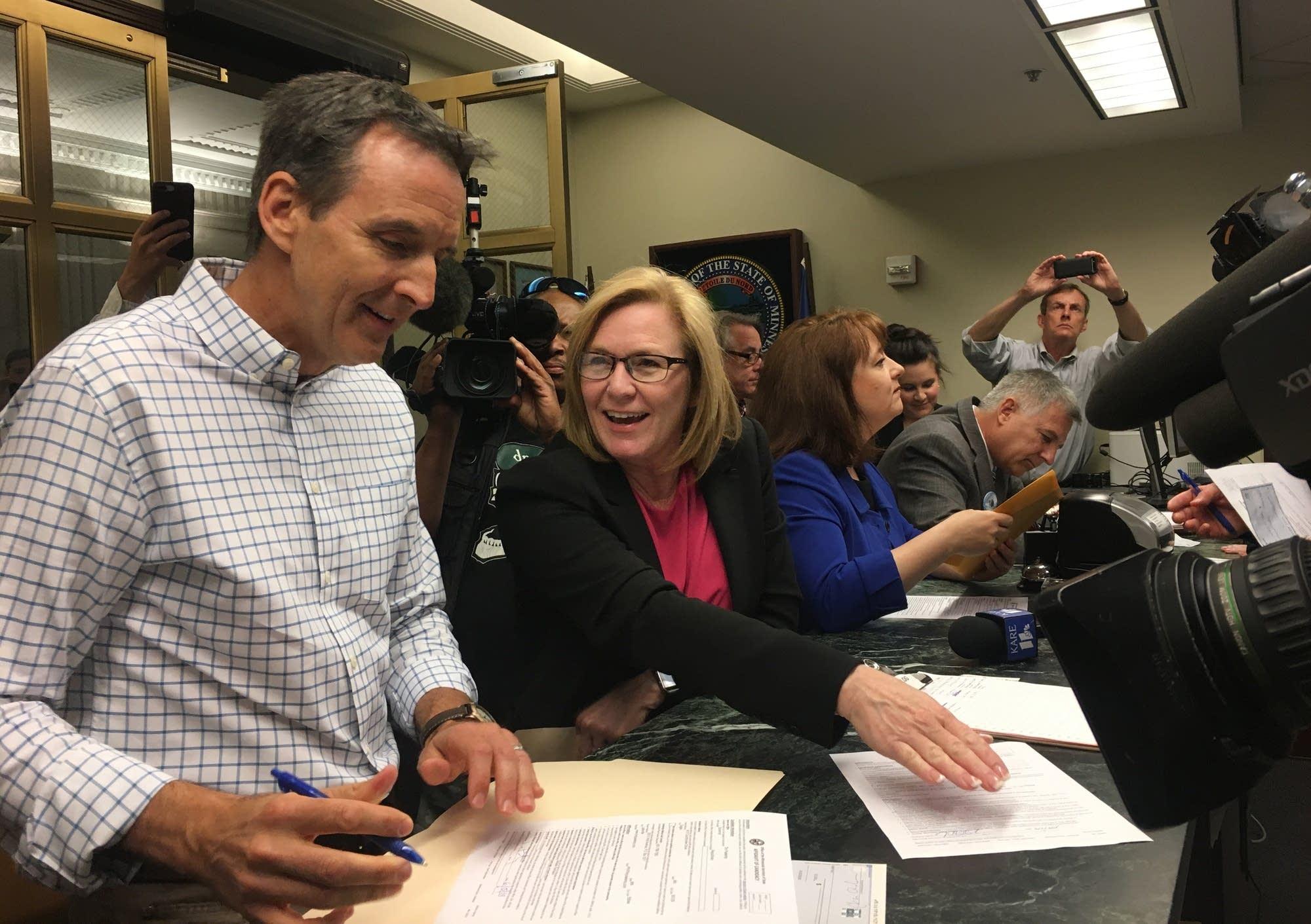 Tim Pawlenty files to run for governor.