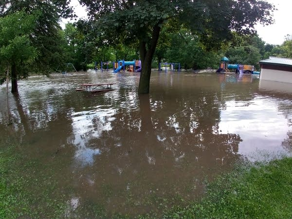Flood waters from Cascade Creek fill Kutzky Park in Rochester