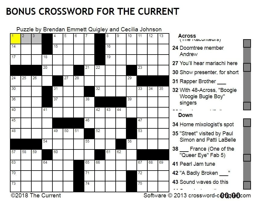 Brendan Emmett Quigleys Crossword For The Current