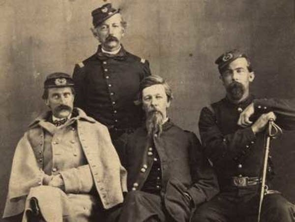 Josias King (right) with General Alfred H. Sully (center).