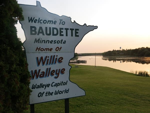 A Minnesota-shaped sign in Baudette, Minn.
