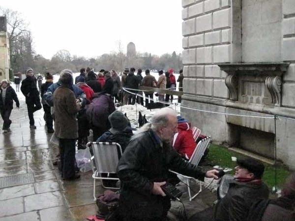 Michael Barone interviews people in queue
