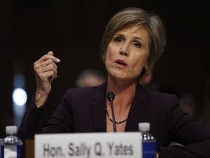 Former acting Attorney General Sally Yates testifies on Capitol Hill.