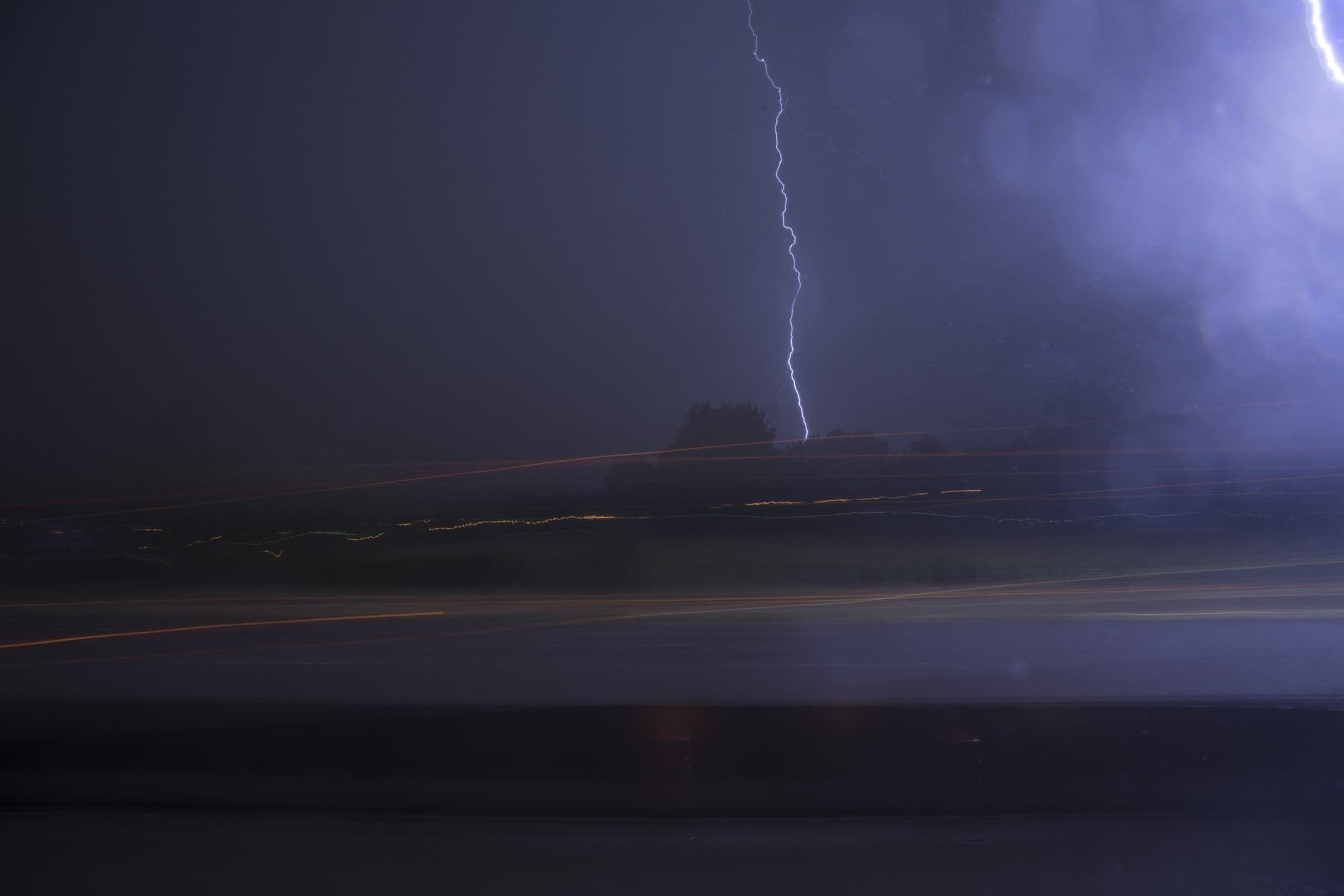 The group was awakened by lightning during the trip.