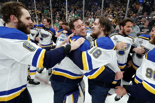 The St. Louis Blues celebrate after defeating the Boston Bruins.