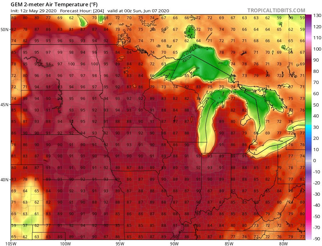 Canadian model temperature output Sunday June 7