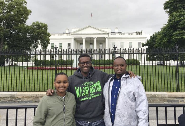 Yusuf Dayur, left, visits the White House in 2017.