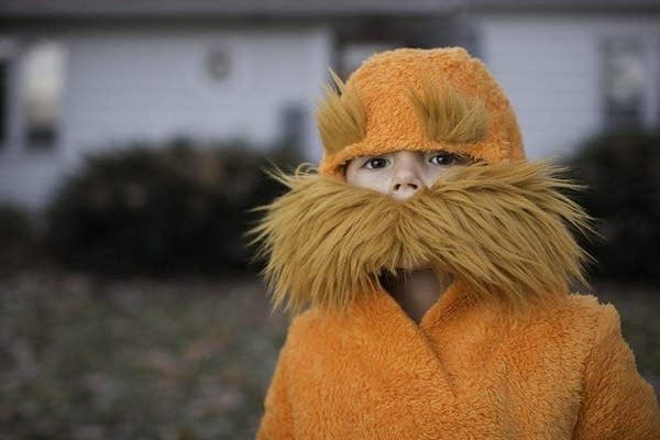 A child dressed as the character the Lorax