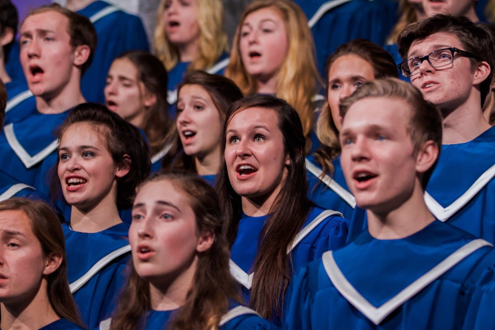 "Students sing at the annual ""Christmas in Christ Chapel"""