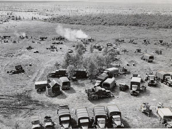 Troop firing at targets over the bog, 1949