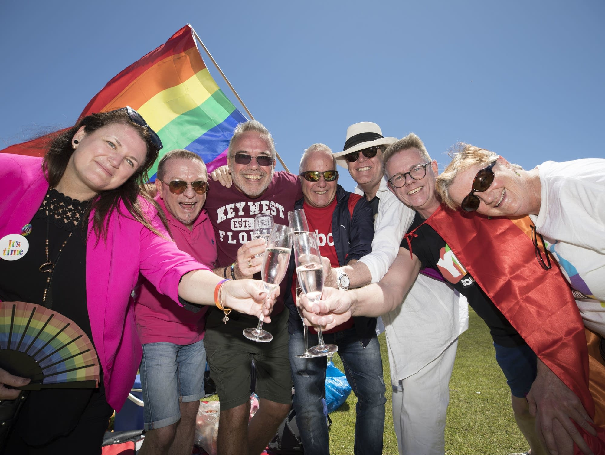 Australians celebrate at the marriage equality survey result