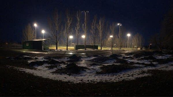 Stadium lights in Ada, Minn.
