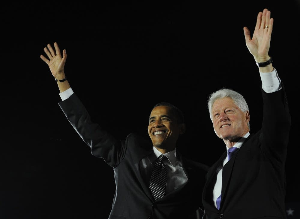 Barack Obama and Bill Clinton at a campaign rally