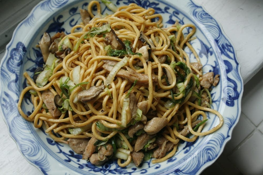 Longevity Noodles with Ginger Chicken and Mushrooms