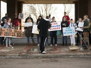 About 40 people protested police shooting.