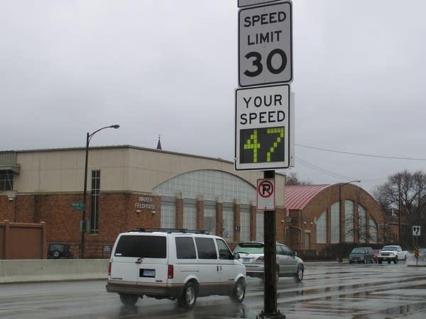 Radar readout on Snelling Avenue in St. Paul.