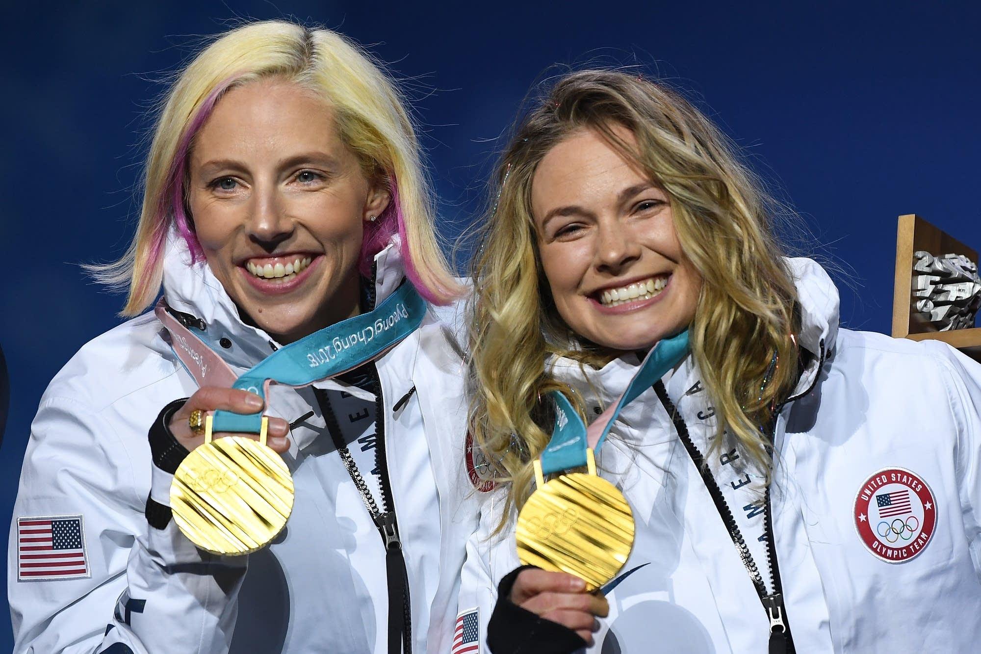 Gold medalists Kikkan Randall and Jessica Diggins.