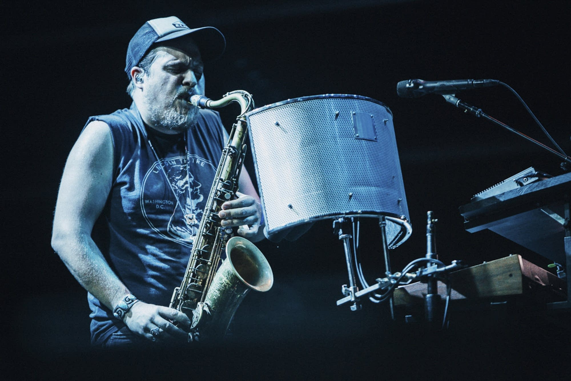 Saxophonist Mike Lewis of Bon Iver.