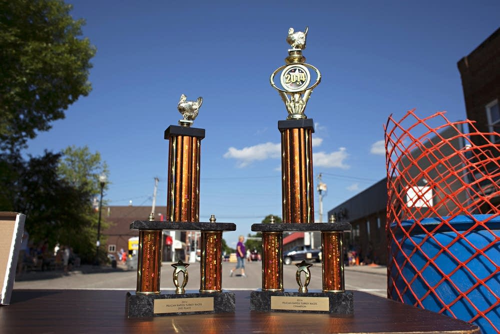 Turkey race trophies await the winners.