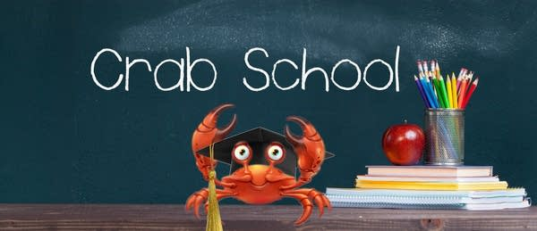 Photo illustration of a crab wearing a mortarboard in a classroom