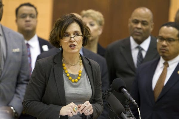 Mayor Betsy Hodges at the press conference.