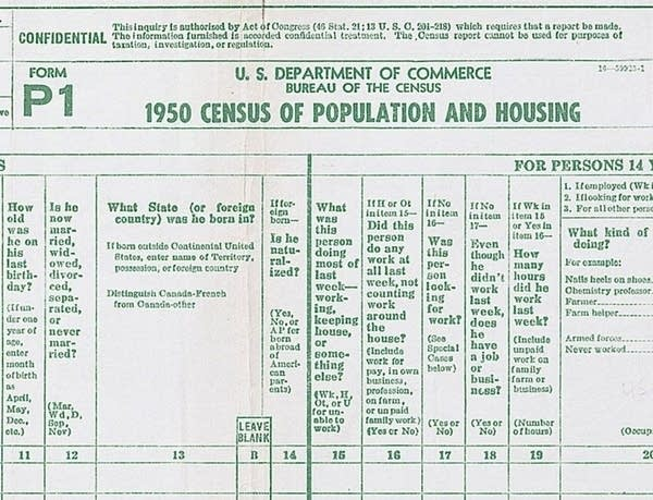 The 1950 census form.