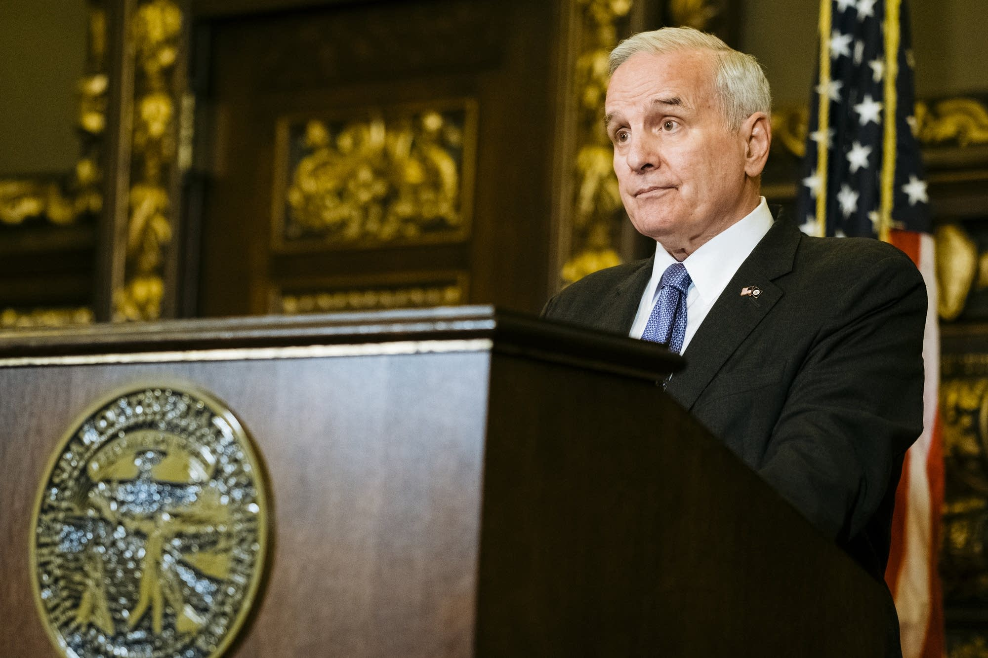 Gov. Mark Dayton speaks at a press conference.
