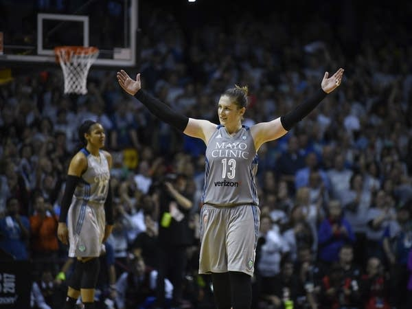 Lynx guard Lindsay Whalen acknowledges the crowd.