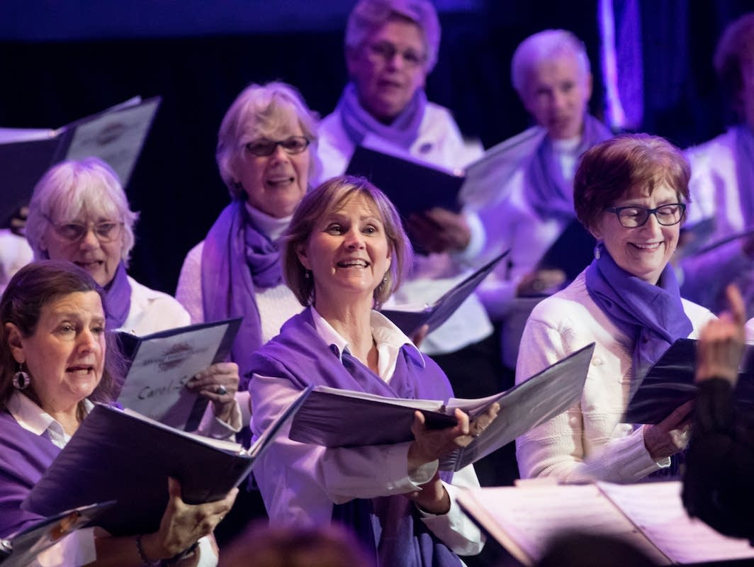 Members of the Giving Voice Chorus in performance.