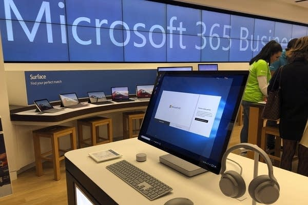 A computer in display at a store.