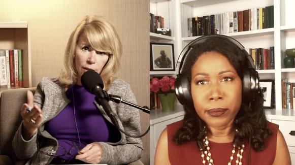 Screenshot of two women speaking over video call.