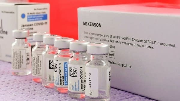 Vials of a vaccine lined up.