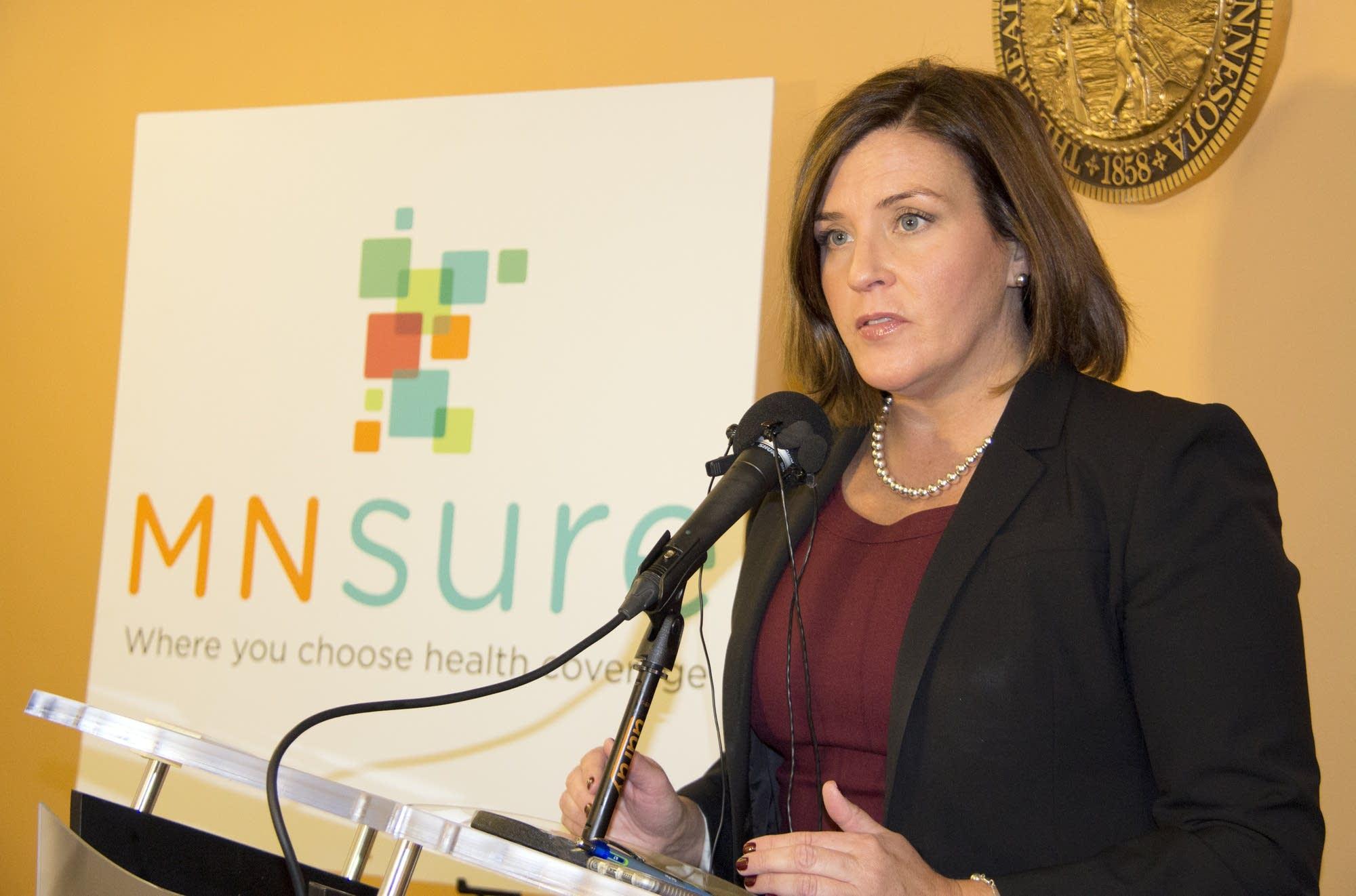 MNsure CEO Allison O'Toole at a media event.