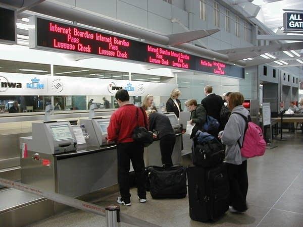 A Northwest ticket counter at MSP