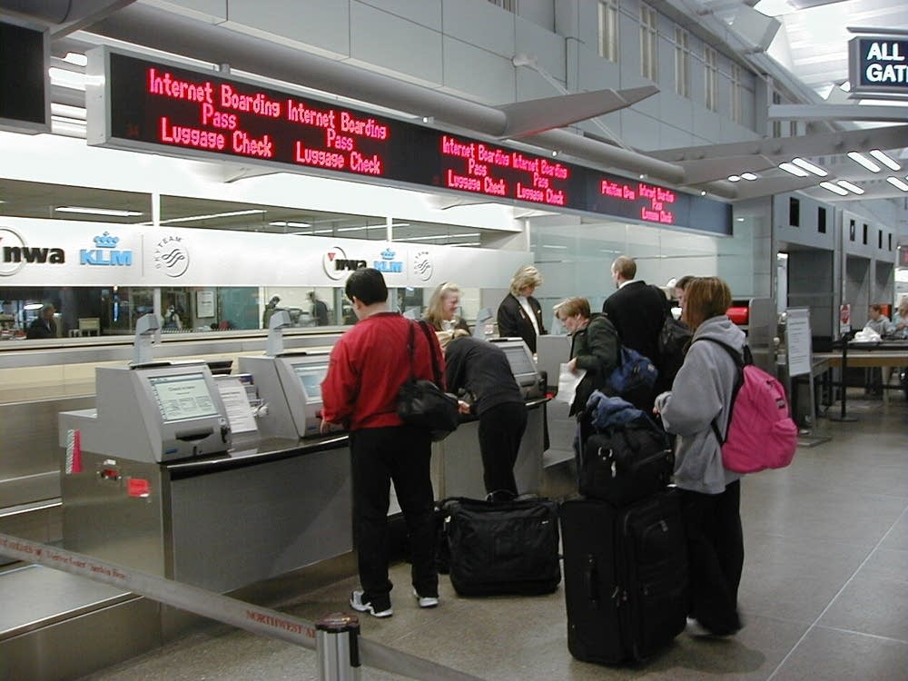 A Northwest ticket counter at MSP