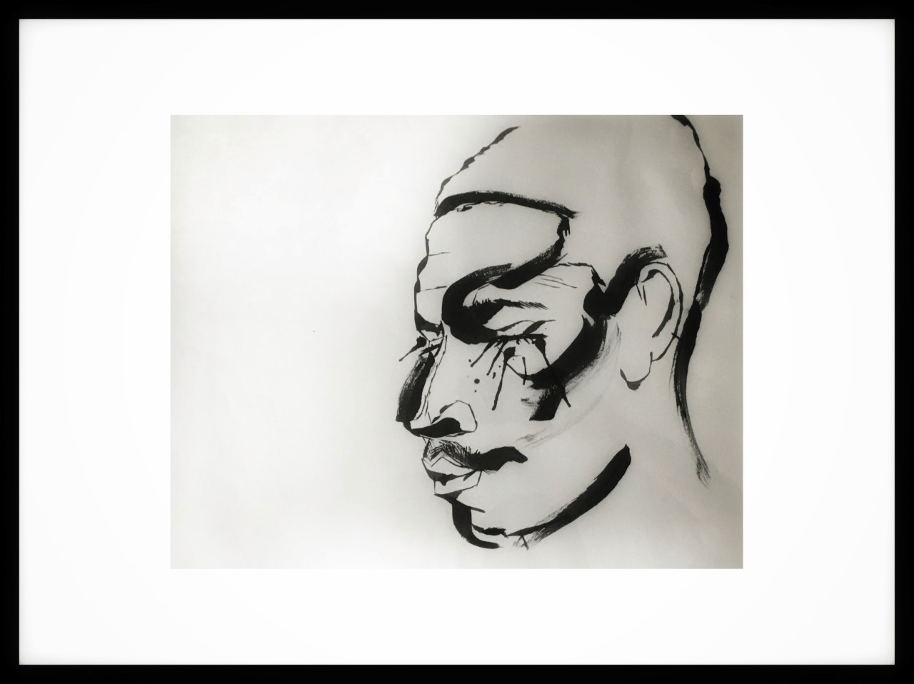 A painting of a persons face