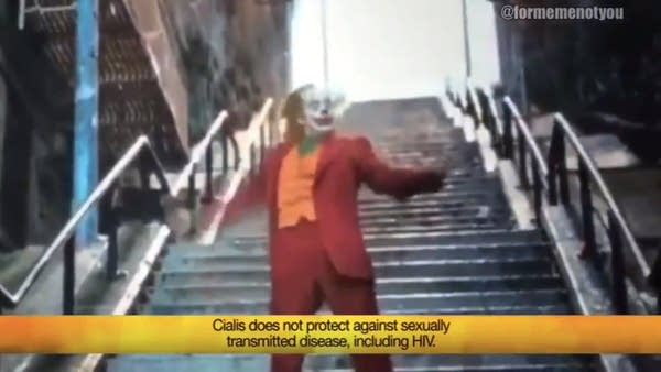 Joker-based Cialis parody commercial from @formemenotyou on Twitter