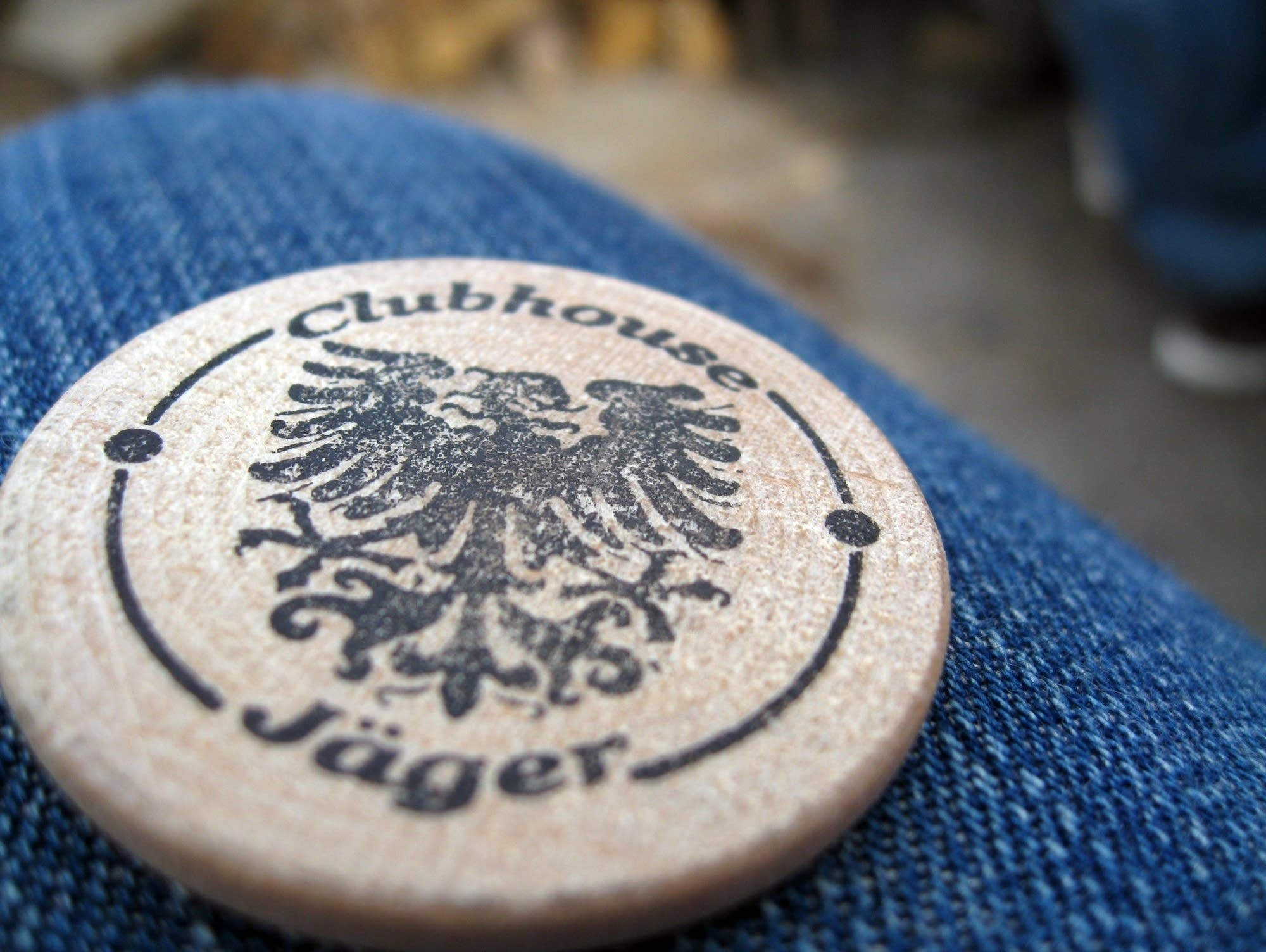 A drink token from Clubhouse Jager.